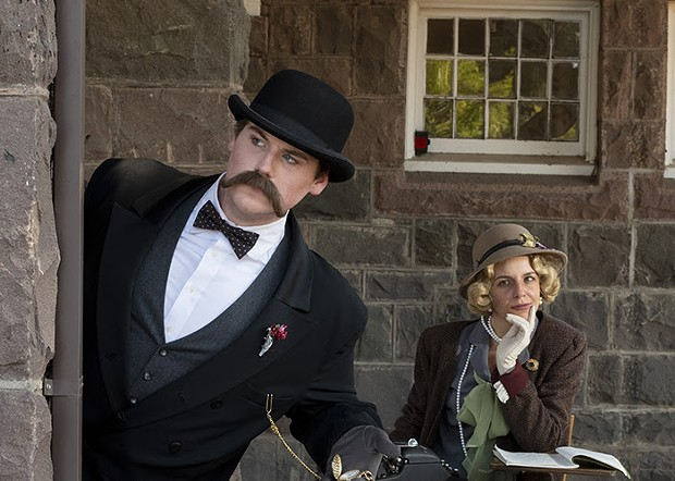 Riley Craig (as Hercule Poirot) and Allison Paine (as Agatha Christie) star in Santa Rosa Junior College's virtual production of 'Murder on the Orient Express.' - TOM CHOWN