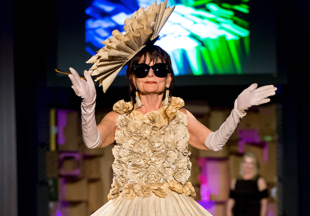 """Vintage Edition,"" designed by Denise Wilbanks and Pat Hackman, is one of many recycled dresses on display at the online Trashion Fashion Show this month. - PHOTO COURTESY SONOMA COMMUNITY CENTER"