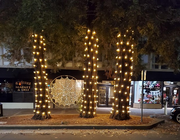 """HOLIDAY ART  Public art installations such as """"Ethereal Strength,"""" by Santa Rosa artist Lacy Anderson, make for festive photo opportunities as part of downtown Santa Rosa's reimagined Winter Lights event. - PHOTO COURTESY SANTA ROSA METRO CHAMBER"""