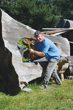 ADZE MAN Chuck Oakander's wood sculptures sometimes take years to complete.