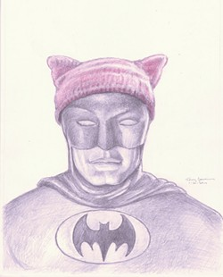 PINK DARK KNIGHT Pop artist Tony Speirs imagines the caped crusader fighting for women's rights.