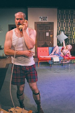 TOO HOT Chris Schloemp and Rose Roberts get steamy in Rob Caisley farce. - ERIC CHAZANKIN