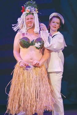 TROPICAL BREEZE William Thompson, left, and Heather Buck go for laughs in 'South Pacific.' - ERIC CHAZANKIN