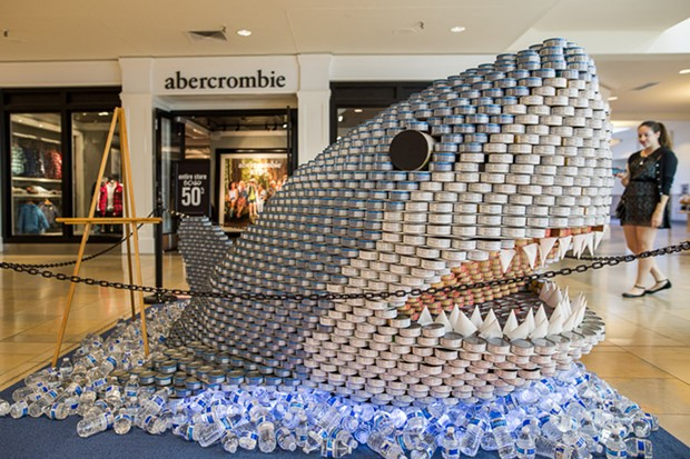 Shark! Shark! There's a shark in the mall! The winning sculpture from a recent ReCANstruction contest in Texas.