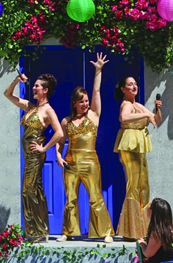 DANCING QUEENS Susan Zelinsky, Dyan McBride and Jennifer McGeorge don the lamé for 'Mamma Mia!' - ED SMITH