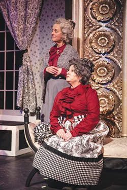 MACABRE HOBBIES Karen Brocker (left) and Karen Pinomaki play a pair of murderous aunts in 'Arsenic and Old Lace.' - MILLER OBERLIN