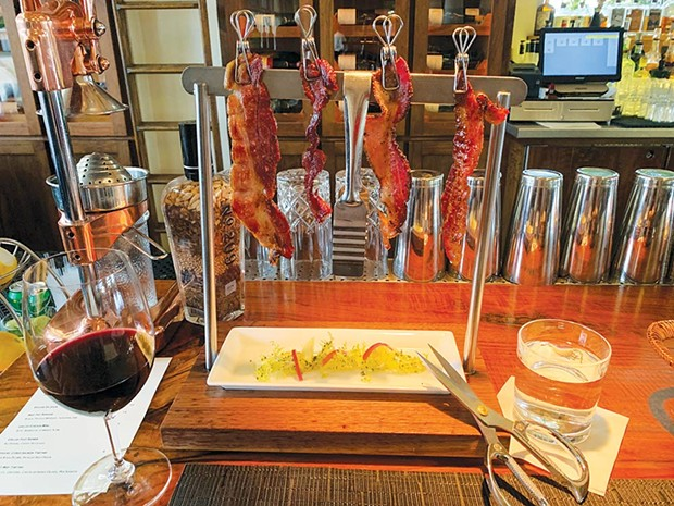 """PIGGY PAIRING The 2016 """"Vicarious"""" Modus Operandi, a red blend, pairs well with bacon. - CHARLENE PETERS"""