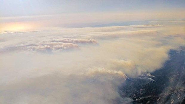 SMOKED An aerial view of the smoke over Sonoma County from 2017's fires echoes the current situation. - DICK LYON