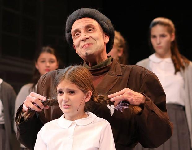 """Bambinatum est Magitum"" The evil Miss Trunchbull (Michael Conte) smells rebellion in 'Matilda'. - SHELLY HANAN"