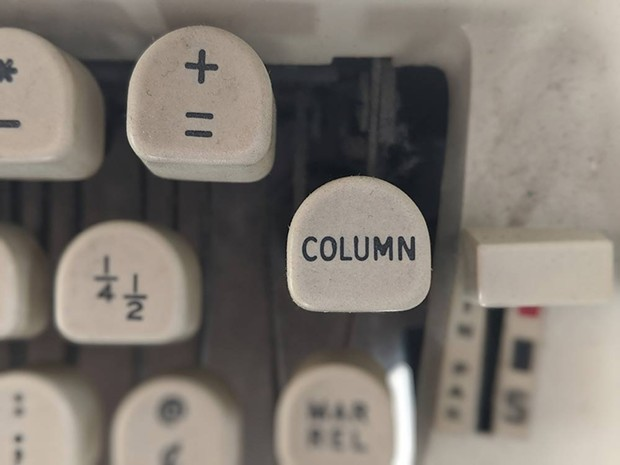 PRESS HERE The 'column' button on a vintage Royal typewriter that did not belong to Herb Caen. - DAEDALUS HOWELL