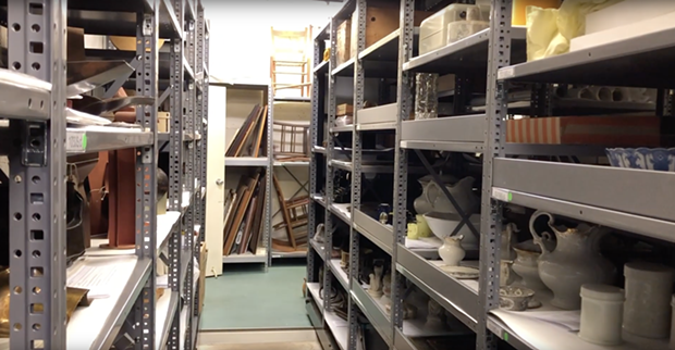 The storage area under the historic 1910 Santa Rosa Post Office building is home to Museum of Sonoma County's massive permanent collection.