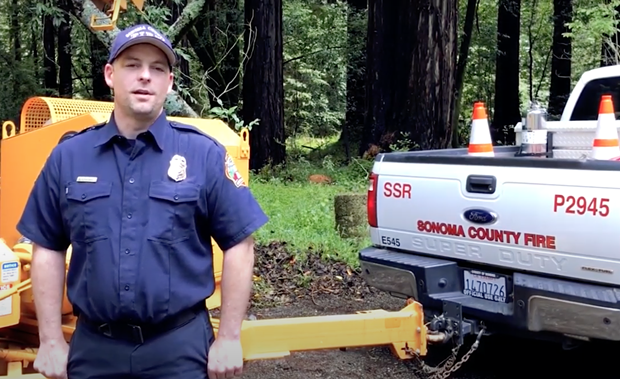 Steve Mosiurchak, senior fire inspector for Sonoma County Fire Prevention Division introduces the Residential Curbside Chipper Program.