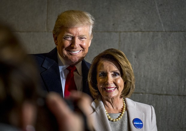 LOAN ZONE Nancy Pelosi (left) seen here with her frequent adversary President Trump. Pelosi's husband is an investor in a company that received a loan of between $350,000 and $1 million.