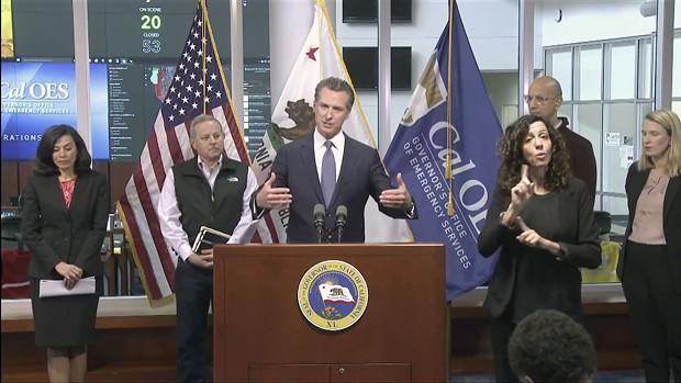 Gov. Gavin Newsom speaks at a press conference on Sunday, March 15.