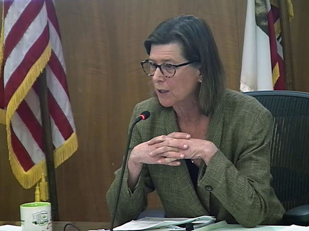 Marin County Supervisor Katie Rice speaks at a Tuesday, March 24 meeting streamed online.