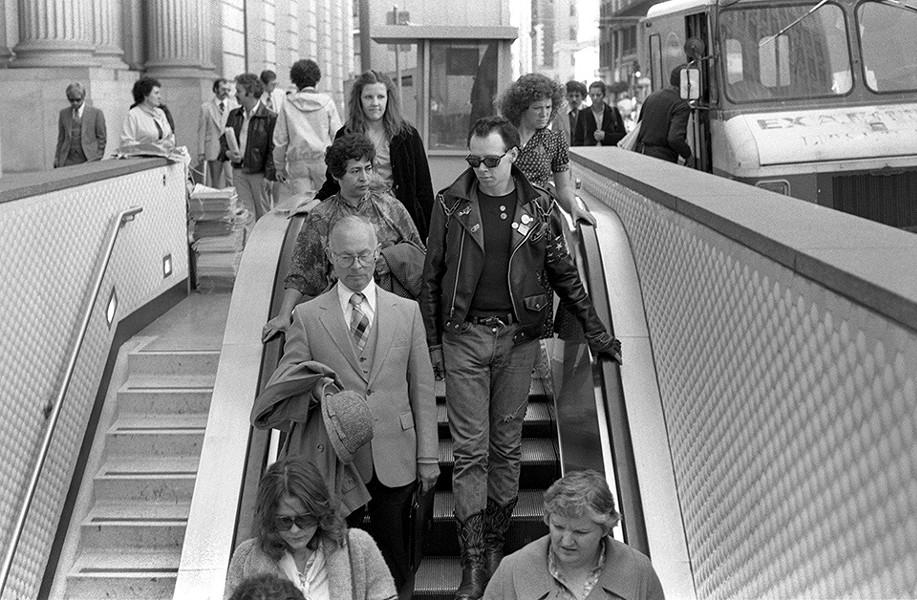 Stannous Flouride in the Financial District, Montgomery BART Station, 1980. - JEANNE HANSEN