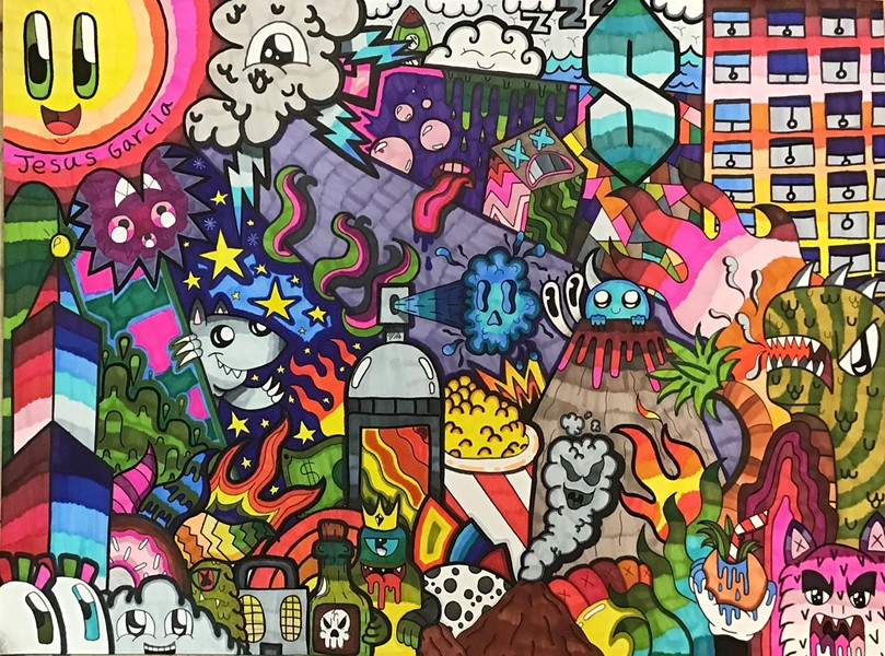"""""""Galaxy of Colors"""" by St Helena High student Jesus Garcia is viewable in a virtual youth art exhibit via Napa Valley Museum."""