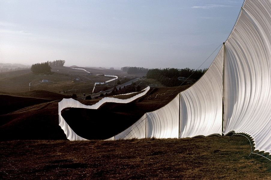 """A view of """"Running Fence,"""" by Christo and Jean-Claude, as it was seen in Sonoma and Marin Counties in 1976. - PHOTO BY JEANNE-CLAUDE; COURTESY CHRISTOJEANNECLAUDE.NET"""