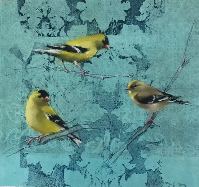 "North Bay monotype artist Sylvia Gonzalez's 2019 artwork ""Goldfinches"" displays in new Napa Valley exhibit."