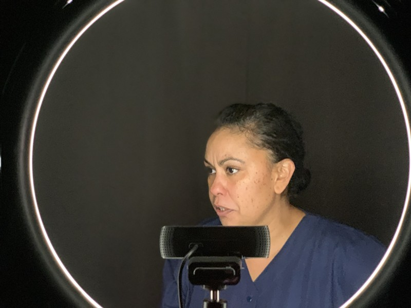 ON CAMERA Serena Elize Flores performs her role as Cynthia remotely for Left Edge Theatre's online production of 'Sweat.' - PHOTO COURTESY LEFT EDGE THEATRE