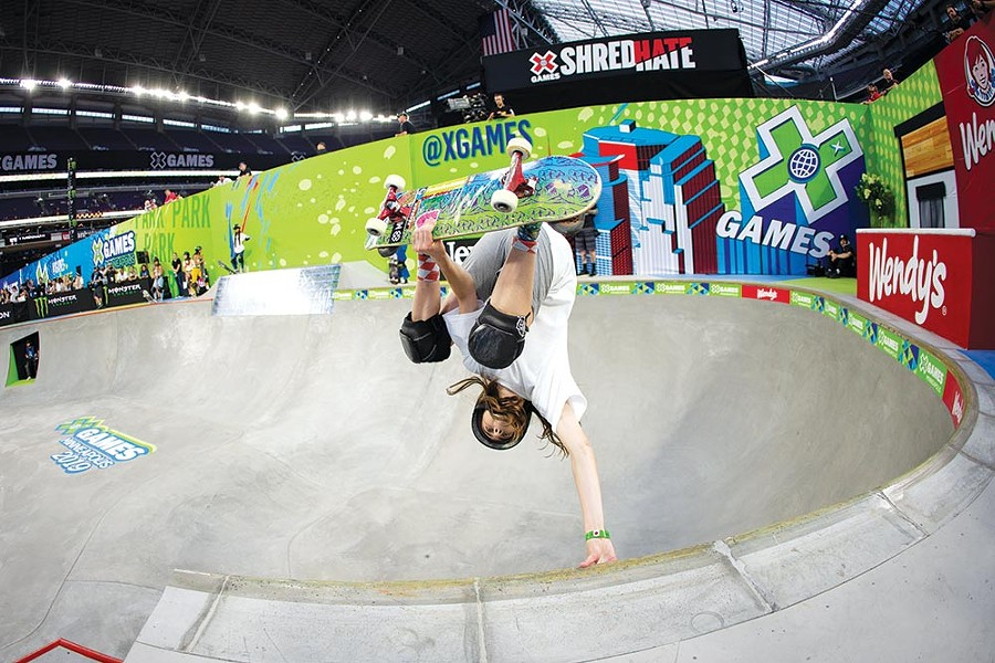 DO NOT ADJUST YOUR PICTURE Fourteen-year-old Petaluma skateboard phenom Minna Stess wows the crowd at the 2019 X Games. - BRYCE KANIGHTS