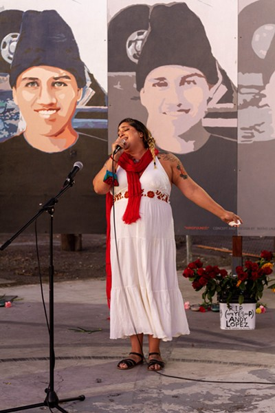 Anette Moreno sings at the Andy Lopez Celebration of Life. - CHELSEA KURNICK