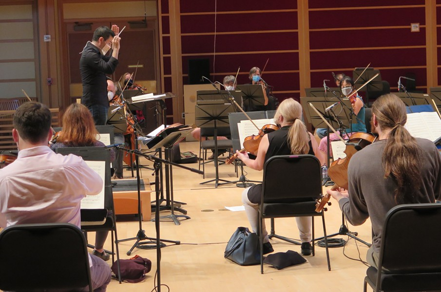 Conductor Francesco Lecce-Chong (top left) and members of the Santa Rosa Symphony rehearse for their premiere virtual concert earlier this month. - KATE J MATWYCHUK