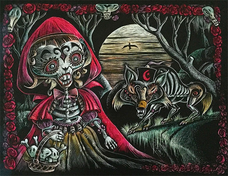'LITTLE DEAD RIDING HOOD/ Marc Schmid's 'Dreams of the Dead' exhibit at the Back House Gallery opens Petaluma's Dia de los Muertos festivities.