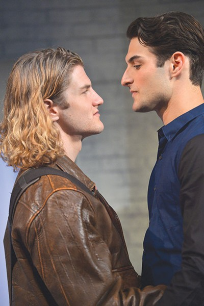 FACE OFF Alex (David Miller, left) and Mitchell (Justin Genna) size each other up in 'The Little Dog Laughed.' - TOM CHOWN