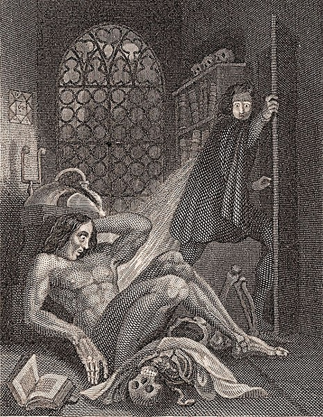 ARISE!  This illustration by Theodor von Holst adorned the 1831 reprint of 'Frankenstein, or the Modern Prometheus'.