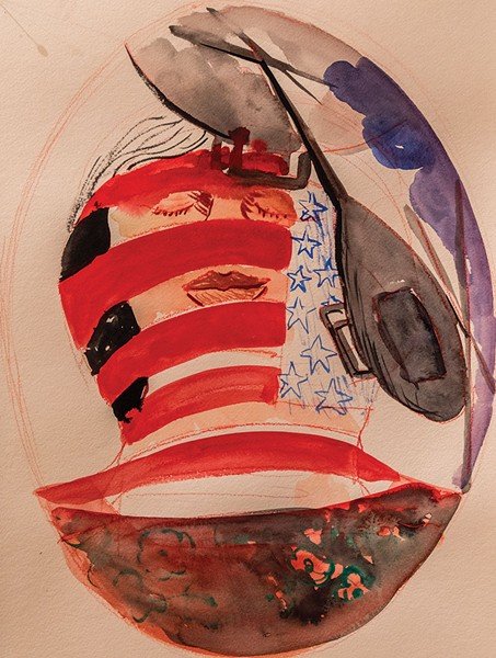 'PATRIOTISM, U.S.A.' Watercolor on paper.
