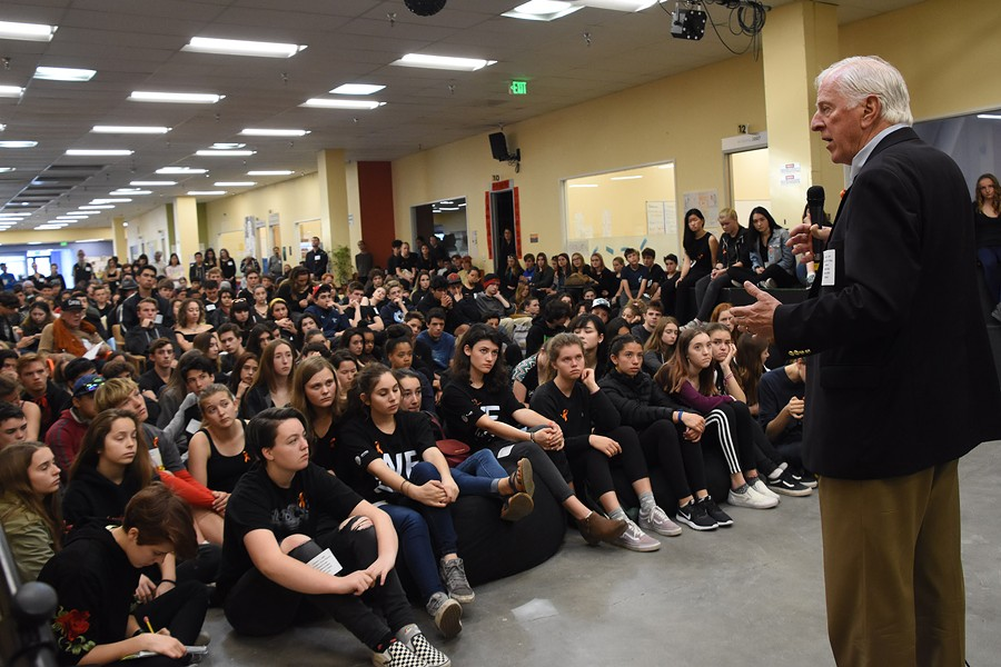 THEIR MAN IN WASHINGTON Before students at Credo High School walked out to protest school violence, Congressman Mike Thompson addressed the school. - KAREN PREUSS