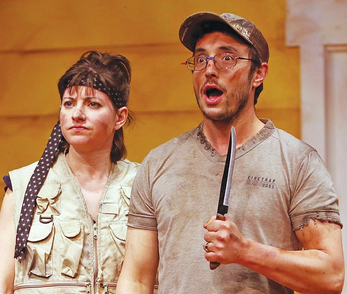 MEAT'S ON! Jess Headington and Sam Coughlin have to carve up more than steaks in 'Barbecue Apocalypse.' - JEFF THOMAS