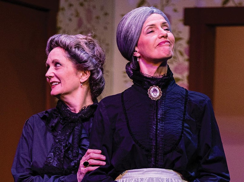 Scary Fun Rebecca Allington and Priscilla Locke play the murderous Brewster Sisters in 'Arsenic & Old Lace.' - RAY MABRY