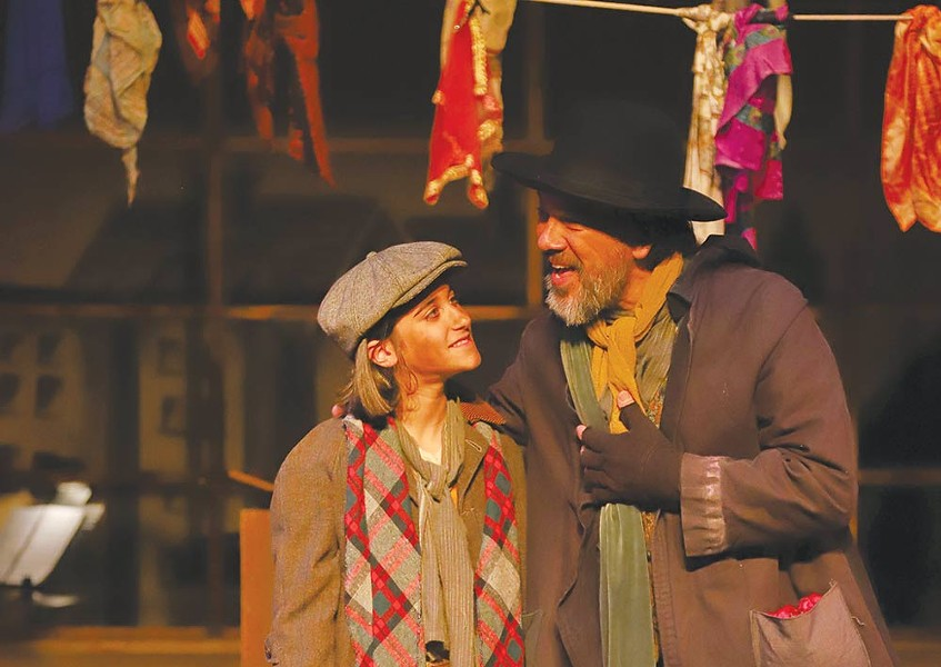 Pick a Pocket Fagin (David Yen) gives the orphan Oliver (Cecilia Brenner) some nasty advice in 6th Street Playhouse's latest. - ERIC CHAZANKIN