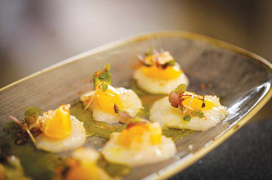 Scallop crudo is a favorite at the new gastropub. - COURTESY OF FLOODWATER