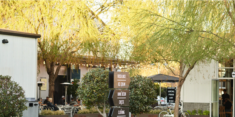 Stay socially distant while enjoying shops and dining at the Barlow in Sebastopol.