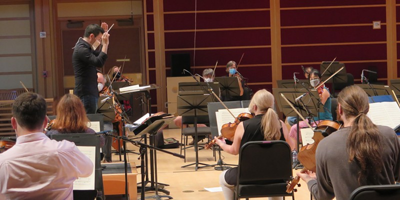 Conductor Francesco Lecce-Chong (top left) and members of the Santa Rosa Symphony rehearse for their premiere virtual concert earlier this month.