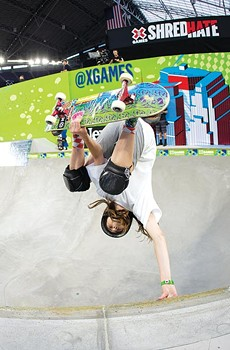 DO NOT ADJUST YOUR PICTURE Fourteen-year-old Petaluma skateboard phenom Minna Stess wows the crowd at the 2019 X Games.