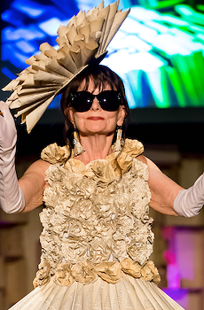"""Vintage Edition,"" designed by Denise Wilbanks and Pat Hackman, is one of many recycled dresses on display at the online Trashion Fashion Show this month."