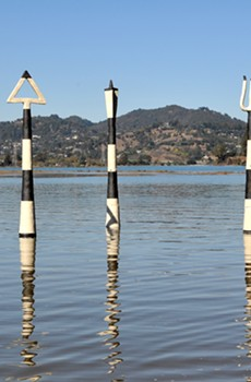 MARK IT Artist Jeff Downing's 'Aqua Metric Markers' shows water level rise in Mill Valley's Bothin Marsh.