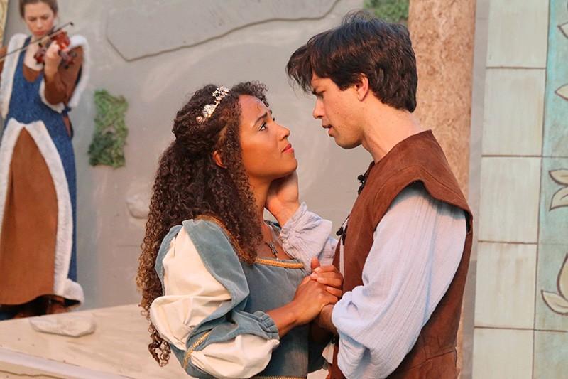 SWEET SORROW Imogen (Stella Heath) bids farewell to husband, Posthumus (Thomas Gorrebeeck.) - LORI A. CHEUNG