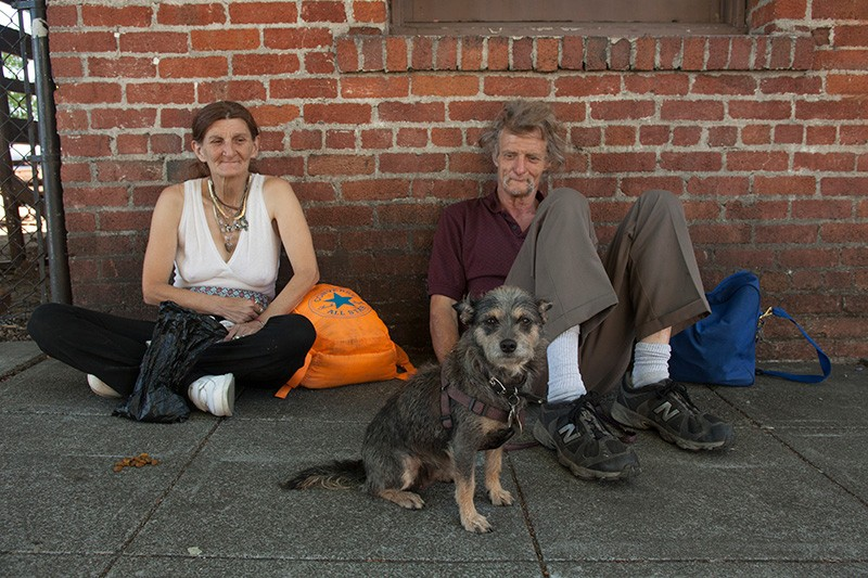 LOCKED OUT Marge, Dave and Killer the dog are among the growing number of homeless in Sonoma County. - MICHAEL AMSLER