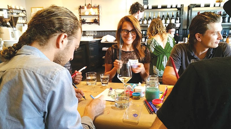 HOW CREATIVE  Attendees at May's Spring Lab mix it up at Sebastopol's West County Coffee & Wine.