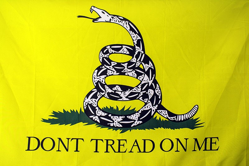 NOT JUST FOR RIGHT-WING NUTS ANYMORE It's time for anti-Trumpers to claim the Gadsden flag. Get yours at Cotati's S.O.G. Military Surplus Collectibles.