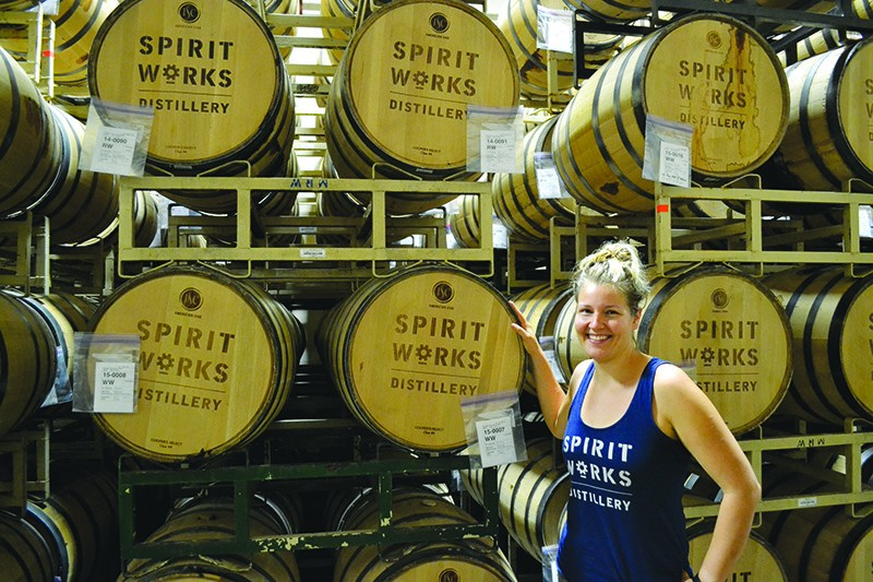 BARRELS OF FUN Spirit Works' head distiller Lauren Patz helps the Sebastopol whiskey maker through each step: milling, mashing and distilling.