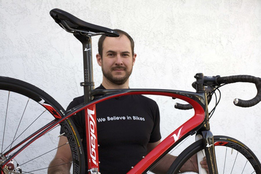 UNDERDOGS Andrew Nelson at the Trek Bicycle Store in Santa Rosa, one of only a few retailers that carry the Volagi frame, says 'the phone's been ringing off the hook' since the trial began. - GABE MELINE