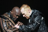 Unmoored: Othello (Peter Macon) and Iago (Dan Donohue) grapple in OSF's 'Othello.'