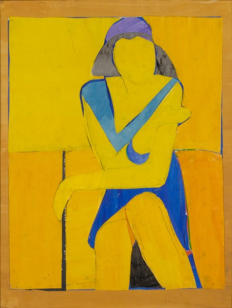 'UNTITLED (YELLOW COLLAGE)' Cut-and-pasted paper, gouach and ink on paper from 1966, on display at the de Young's Berkeley-centered exhibit. - RICHARD DIEBENKORN FOUNDATION