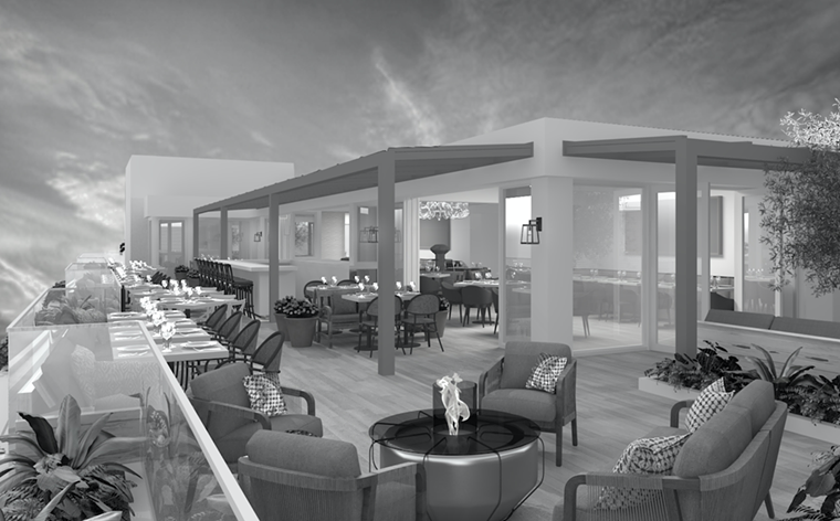 Julia & Henry's will feature a rooftop restaurant helmed by a yet unnamed celebrity chef. - RENDERING BY STAMBUL